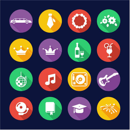prom queen: Prom Icons Flat Design Circle