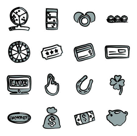 fingers crossed: Lottery Icons Freehand 2 Color