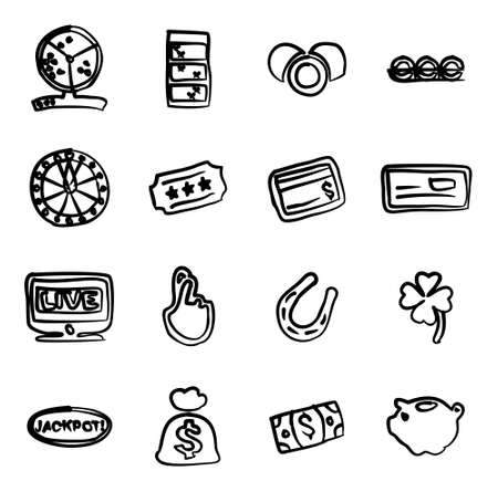 fingers crossed: Lottery Icons Freehand Illustration