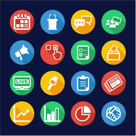 electronic voting: Election Icons Flat Design Circle
