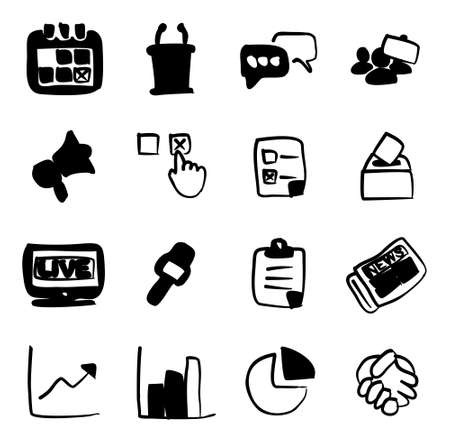 electronic voting: Election Icons Freehand Fill Illustration