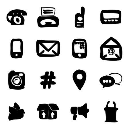 pager: Different Ways Of Communication Icons Freehand Fill Illustration