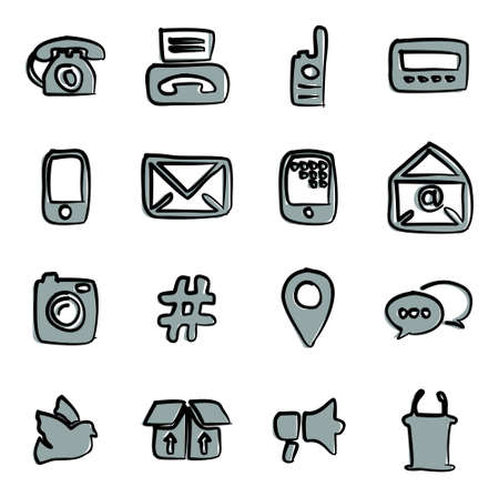 pager: Different Ways Of Communication Icons Freehand 2 Color