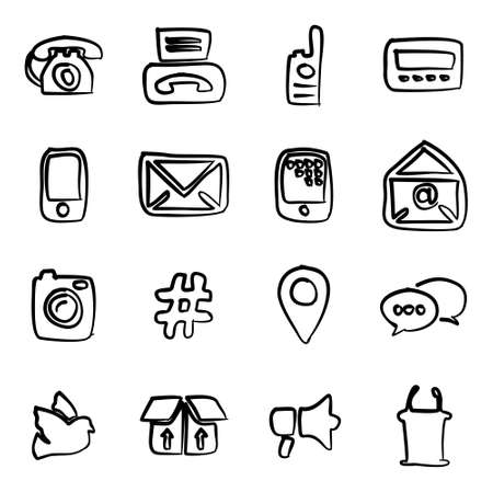 pager: Different Ways Of Communication Icons Freehand Illustration