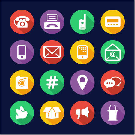 communication icons: Different Ways Of Communication Icons Flat Design Circle