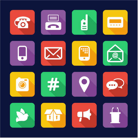 different ways: Different Ways Of Communication Icons Flat Design