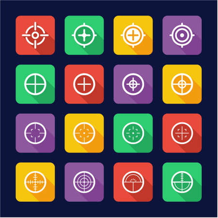 cross armed: Crosshair Icons Flat Design Illustration
