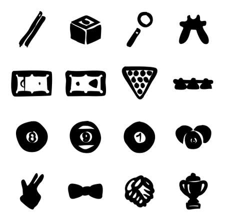 pool player: Billiards Icons Freehand Fill
