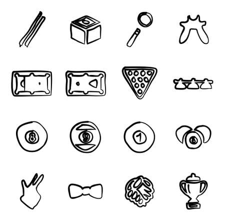 pool player: Billiards Icons Freehand Illustration