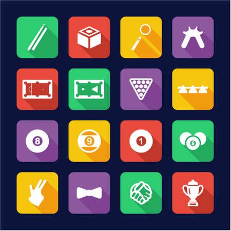 9 ball billiards: Billiards Icons Flat Design
