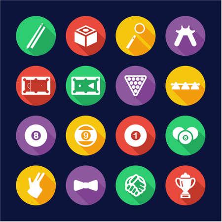 9 ball billiards: Billiards Icons Flat Design Circle Illustration