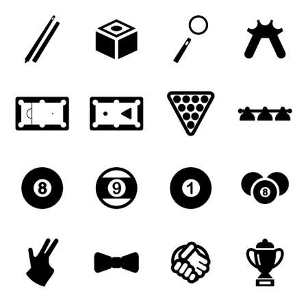 billiards: Billiards Icons Illustration