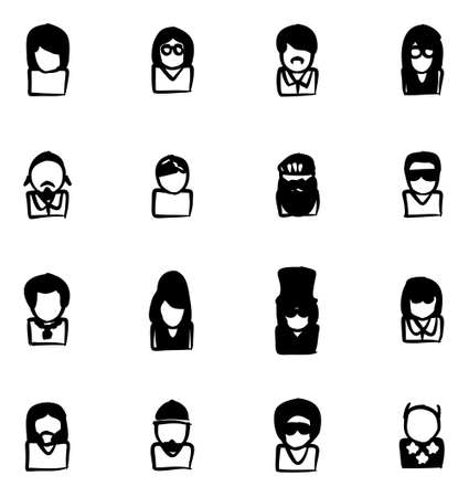 Avatar Icons Famous Musicians Set 2 Freehand Fill