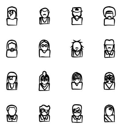 famous: Avatar Icons Famous Musicians Set 1 Freehand Illustration