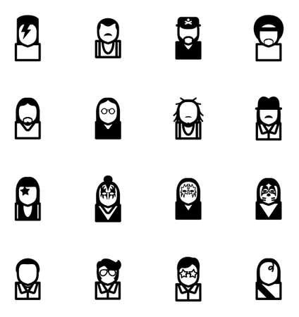 estrella de david: Músicos Avatar famosos iconos Set 1 Vectores