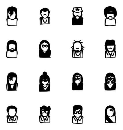 criss: Avatar Icons Famous Musicians Set 1 Freehand Fill Illustration