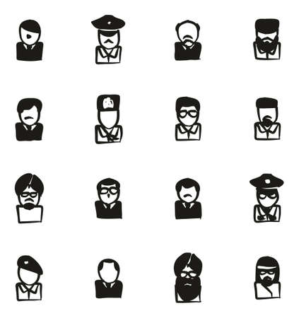 king hussein: Avatar Icons Famous Dictators Freehand Fill