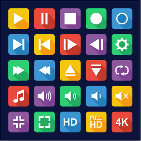 off the record: Video Or Music Or Camera Button Icons Flat Design