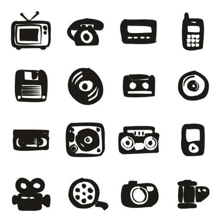 pager: Old Technology Icons Icons Freehand Fill