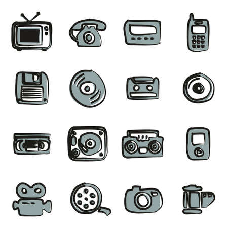 pager: Old Technology Icons Icons Freehand 2 Color