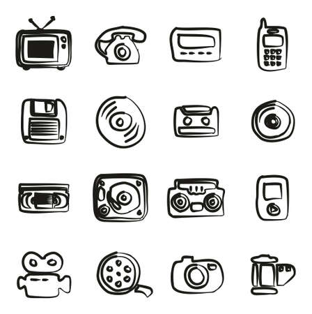 pager: Old Technology Icons Icons Freehand Illustration