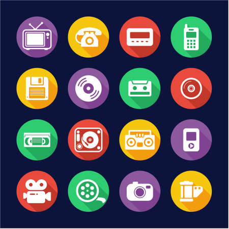 pager: Old Technology Icons Flat Design Circle