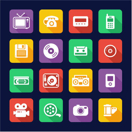 pager: Old Technology Icons Flat Design