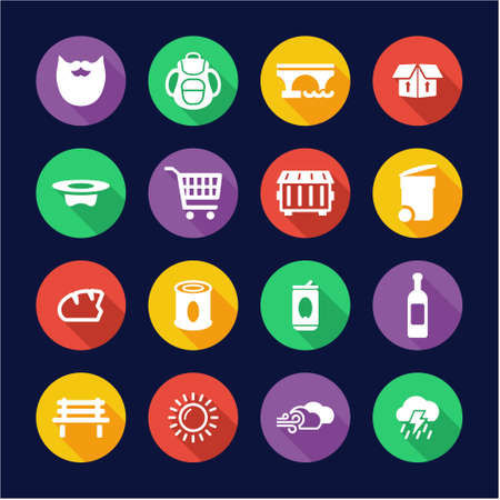 rubbish cart: Homeless Icons Flat Design Circle