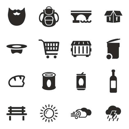 rubbish cart: Homeless Icons Illustration