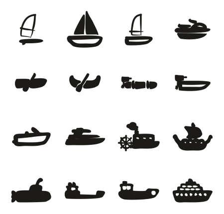 Wasser Transport Icons Freihändig Fill
