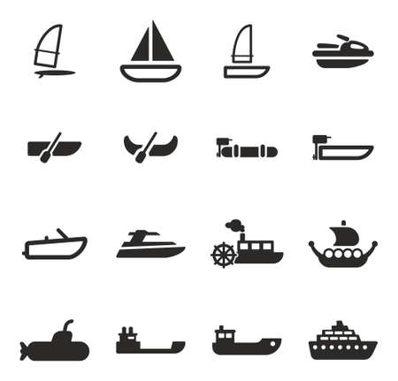 steam jet: Water Transport Icons Illustration