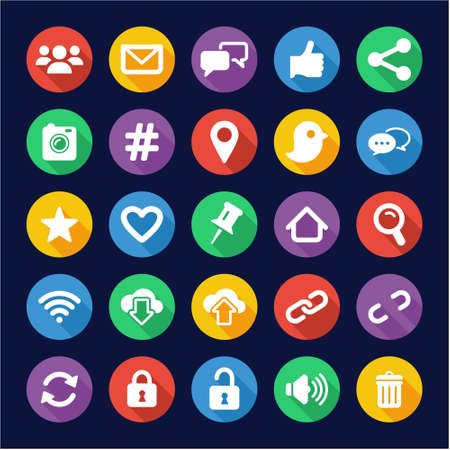design house: Social Media Icons Flat Design Circle