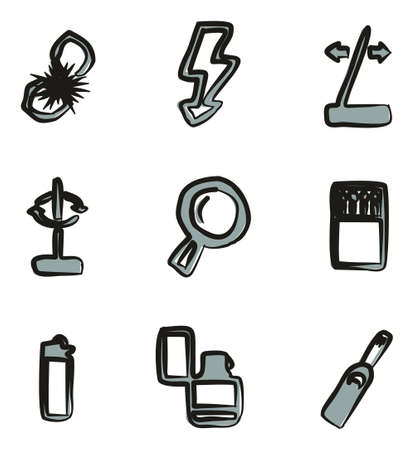 flint: Fire Making Tools Icons Freehand 2 Color