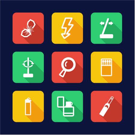 flint: Fire Making Tools Icons Flat Design