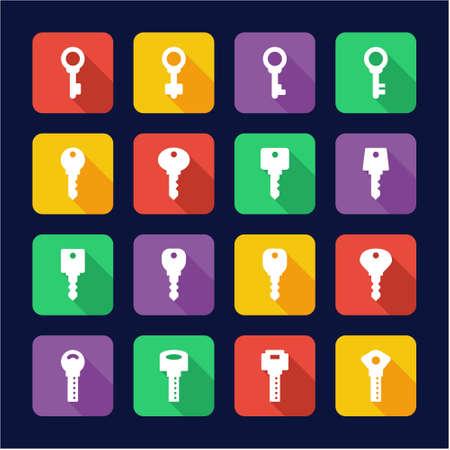 function key: Keys Icons Flat Design Illustration