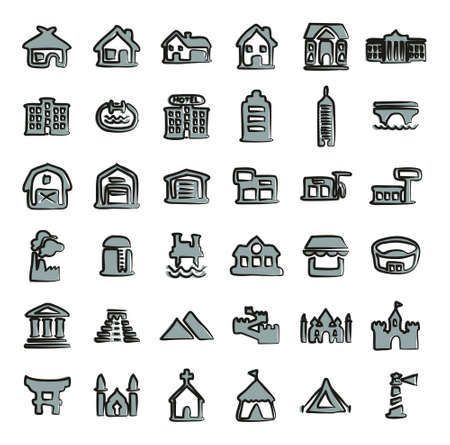 pool hall: Buildings Icons Freehand 2 Color Illustration