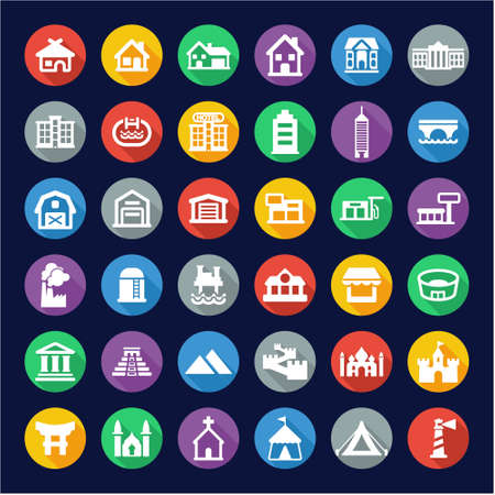 Buildings Icons Flat Design Circle