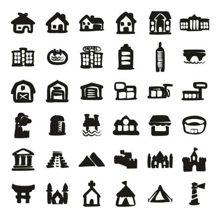 pool hall: Buildings Icons Freehand Fill