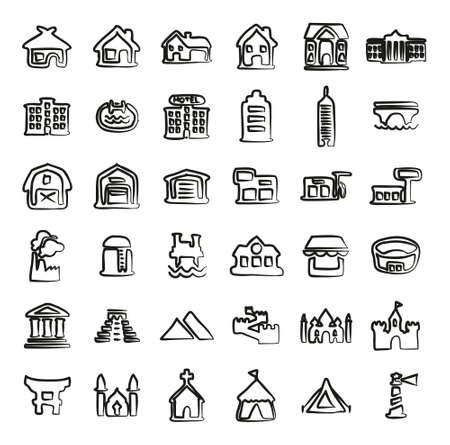 Buildings Icons Freehand