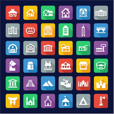 temple tank: Buildings Icons Flat Design Illustration