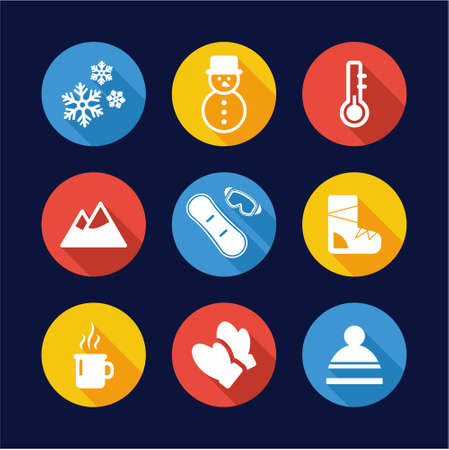 holliday: Winter Icons Flat Design Circle
