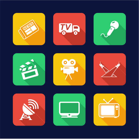 news van: TV Station Icons Flat Design Circle