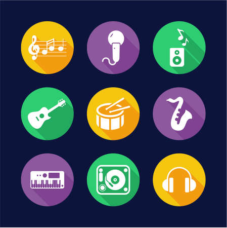 iconos de música: Music Icons Flat Design Circle