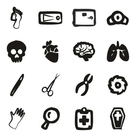 surgical glove: Morgue Icons Freehand Fill Illustration
