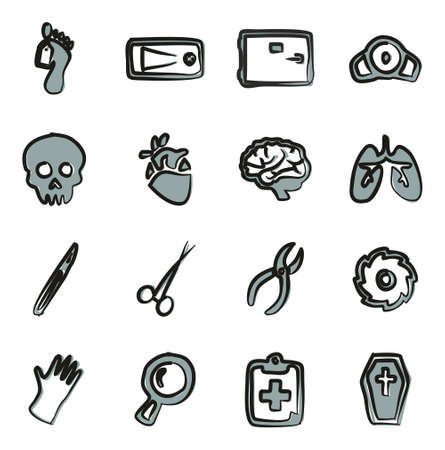 doctor gloves: Morgue Icons Freehand 2 Color Illustration