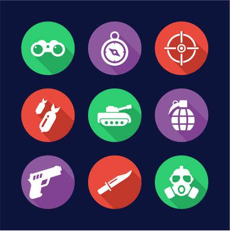Military Icons Flat Design Circle