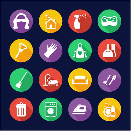 mucama: Maid iconos planos del diseño del círculo