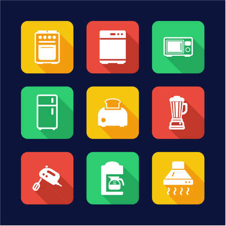 kitchen appliances: Kitchen Appliances Icons Flat Design