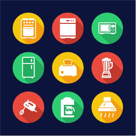 kitchen appliances: Kitchen Appliances Icons Flat Design Circle
