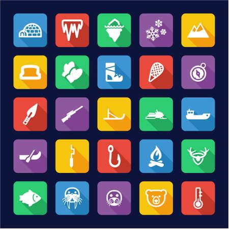 eskimo: Eskimo Icons Flat Design